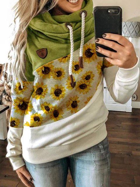 Patchwork Casual Hoodie Printed Sweatshirt