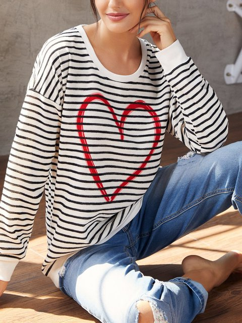 Love print simple striped loose top