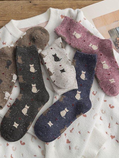 Middle Tube Thickened Yarn Yarn Cat Cartoon Socks