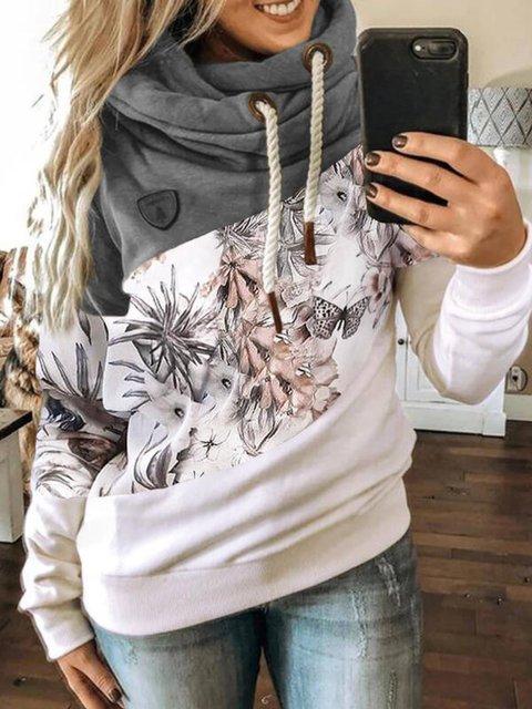 Multicolor Floral-Print Floral Hoodie Casual Sweatshirt