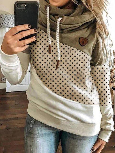 Polka Dots Long Sleeve Casual Sweatshirt