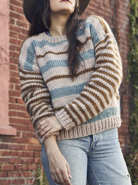 Casual Long Sleeve Stripes Crew Neck Sweater