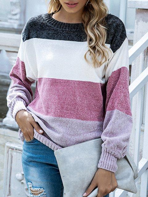 Geometric Casual Long Sleeve Sweater