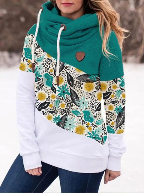 Autumn and winter casual floral pattern stitching contrast color warm long-sleeved sweater