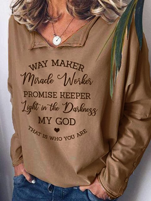 Light Kahaki Printed Casual Shawl Collar Shirts & Tops