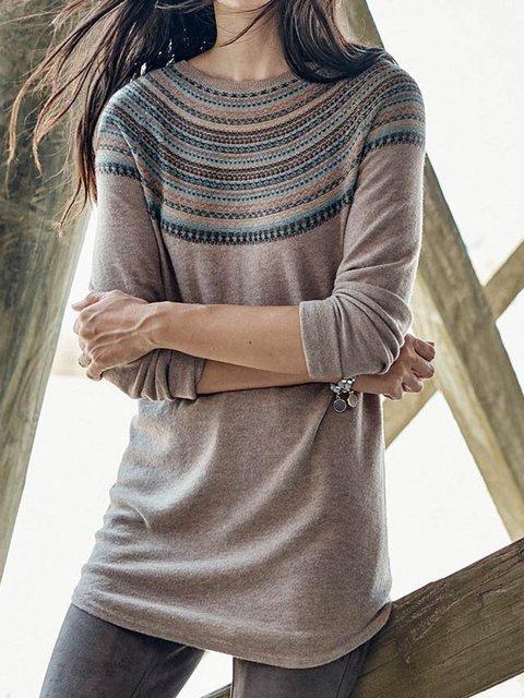 Crew Neck Casual Sweater