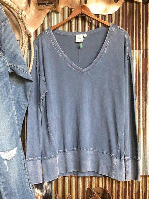 Blue Casual V Neck Long Sleeve Sweatshirt