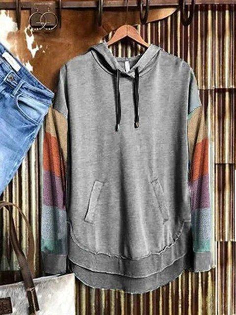 Light Gray Long Sleeve Casual Cotton-Blend Sweatshirt