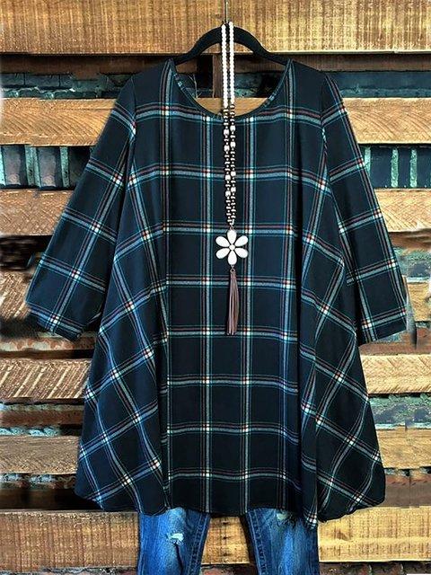 Cotton-Blend Round Neck Loose Plaid Print Long Sleeve Long Tunic