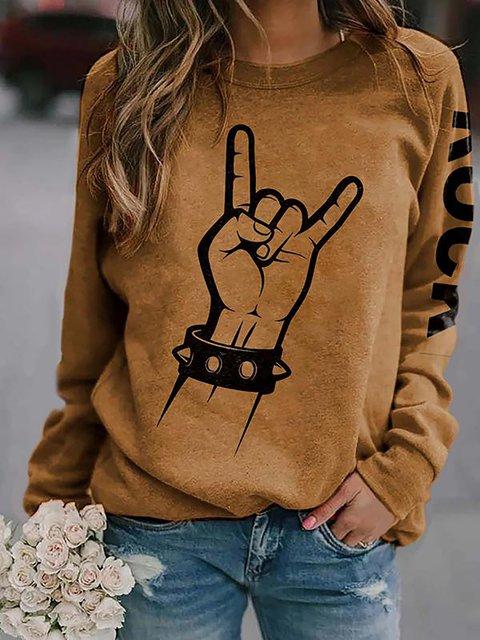 Casual Rock Print Cotton-Blend Round Neck Sweatshirt