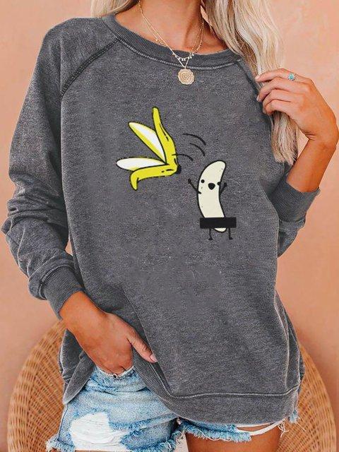 Soulmia Printed Long Sleeve Round Neck Sweatshirt