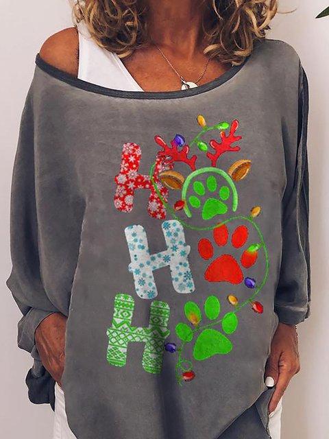 Casual Christmas Dog Paw Print Round Neck Sweatshirt