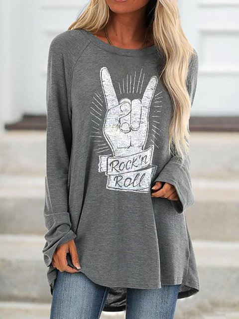 Rock Print Round Neck Cotton-Blend Casual Tops