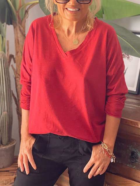 Solid Color Cotton V-neck Long Sleeve Shirts & Tops