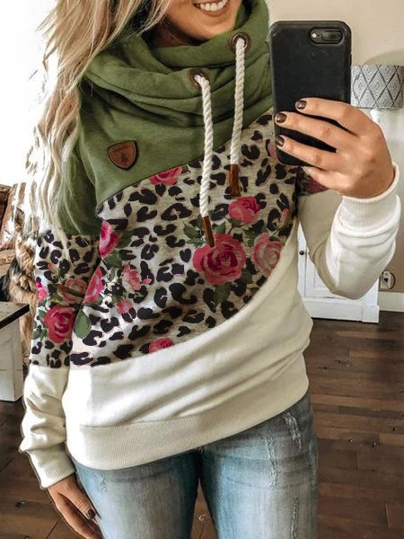 Leopard Long Sleeve Casual Color-Block Sweatshirt