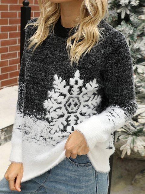 Casual Christmas Snowman Cotton-Blend Sweater