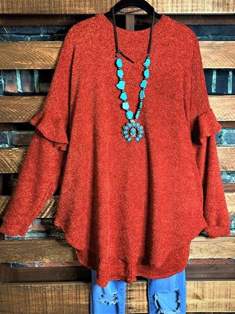 Cotton-Blend Shift Casual Long Sleeve Shirts & Tops
