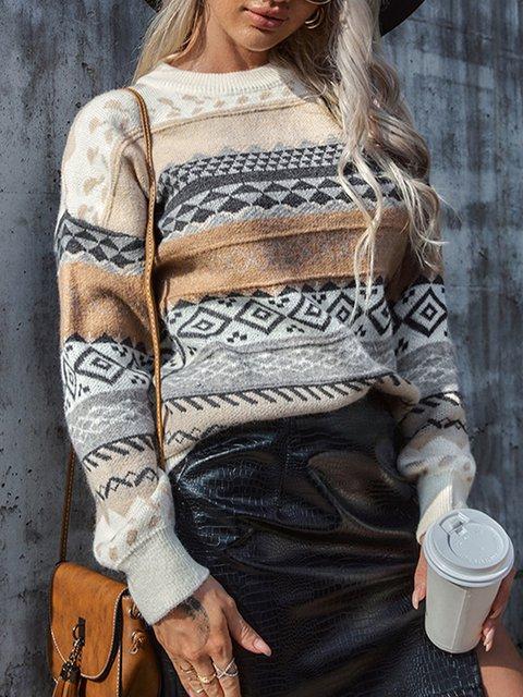 Long Sleeve Christmas Snowman Casual Sweater