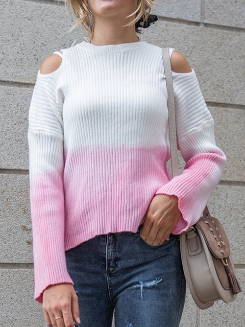 Cotton-Blend Shift Crew Neck Casual Sweater