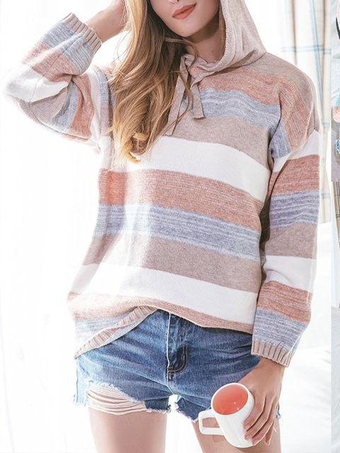 Cotton-Blend Hoodie Long Sleeve Casual Sweater