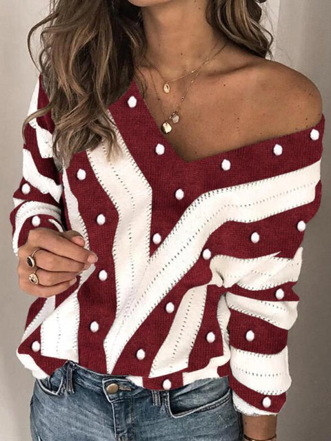 Stripes Knitted Acrylic Long Sleeve Sweater