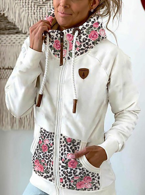 Leopard Printed Casual Cotton-Blend Outerwear