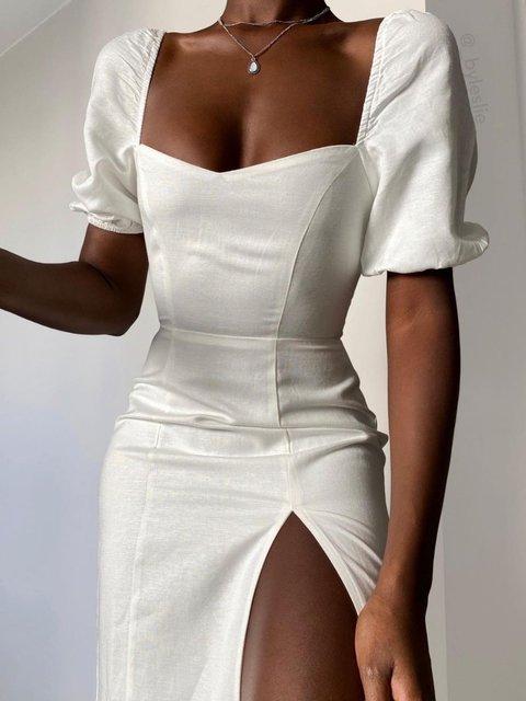 Elegant Sheath Square Neck Dress