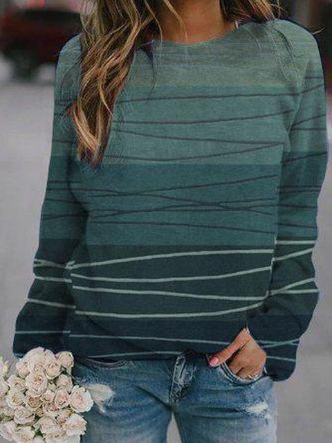 Cotton-Blend Casual Long Sleeve Sweatshirt
