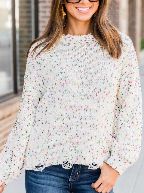 Women's Cotton-Blend Casual Polka Dots Sweater