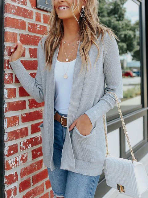 Casual Plain Long Sleeve Side Pocket Sweater Outerwear