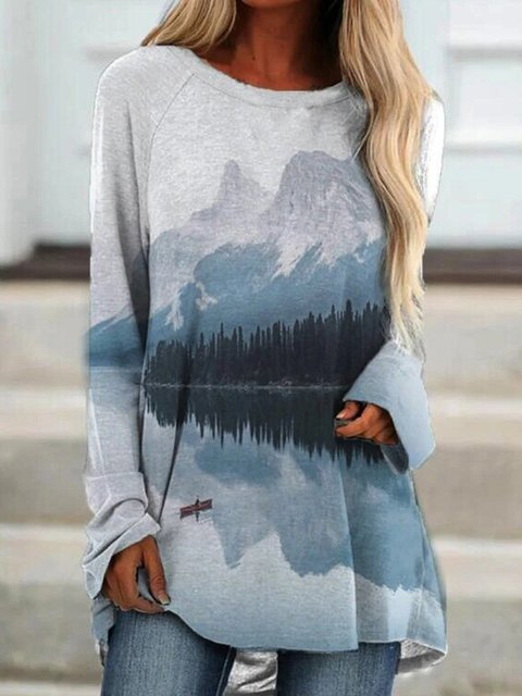 Casual Long Sleeve Crew Neck Shirts & Tops