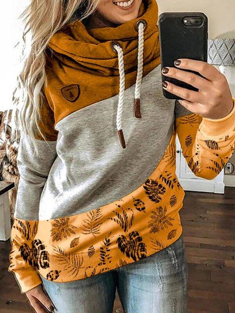 Long Sleeve Casual Paneled Hoodie Sweatshirt