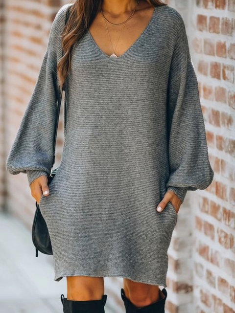 Plain Vintage Long Sleeve Shift Sweater