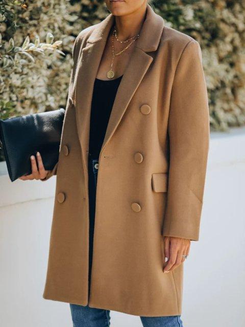 Lapel Plain Shift Casual Outerwear