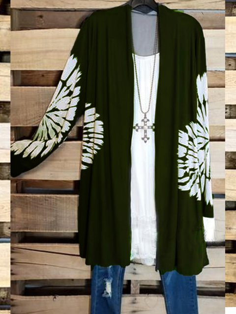 Casual Shift Cotton-Blend Long Sleeve Outerwear