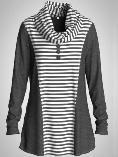 Cowl Neck Casual Stripes Shirts & Tops