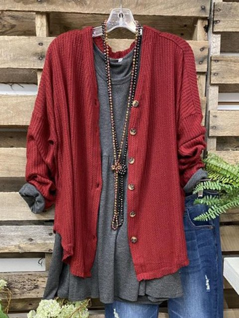 Red Cotton-Blend Long Sleeve Plain V-Neck Outerwear