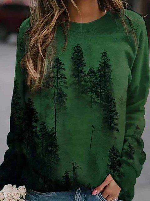 Misty Forest Gradient Landscape Print Vintage Sweatshirt