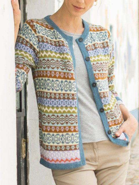 Wool Blend Vintage Multicolor Cardigan Sweater