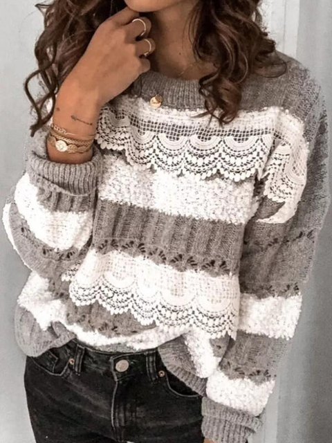 Women's Color Blocked Lace Crew Neck Casual Sweater