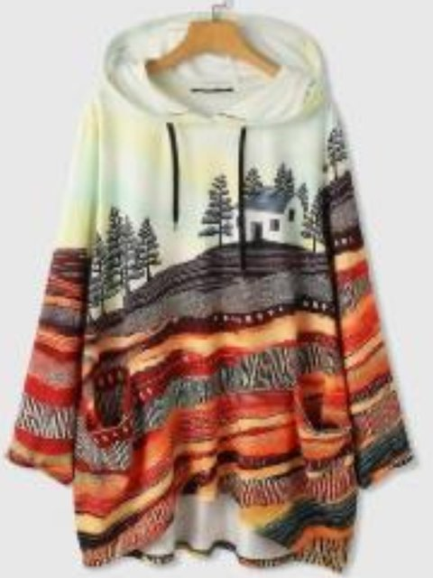 Hoodie Tropical Long Sleeve Cotton Sweater