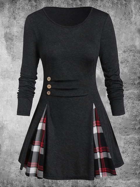 Long Sleeve Checkered/plaid Color-Block Holiday Dresses