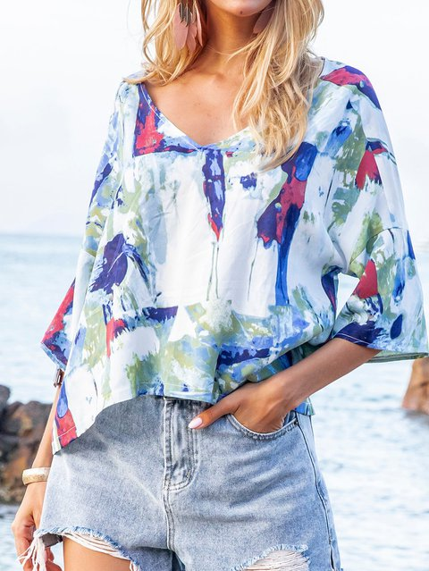 Coffee Layered Tie-Dyed Boho V Neck Floral Shirts & Tops