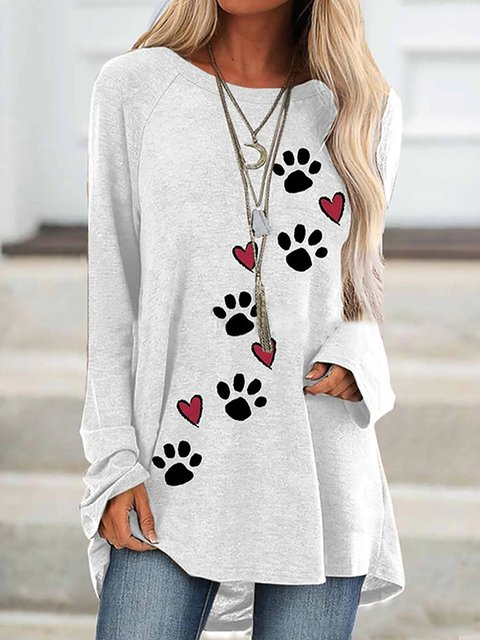 Heart Dog Paw Print Long Sleeve O-neck Casual Blouse
