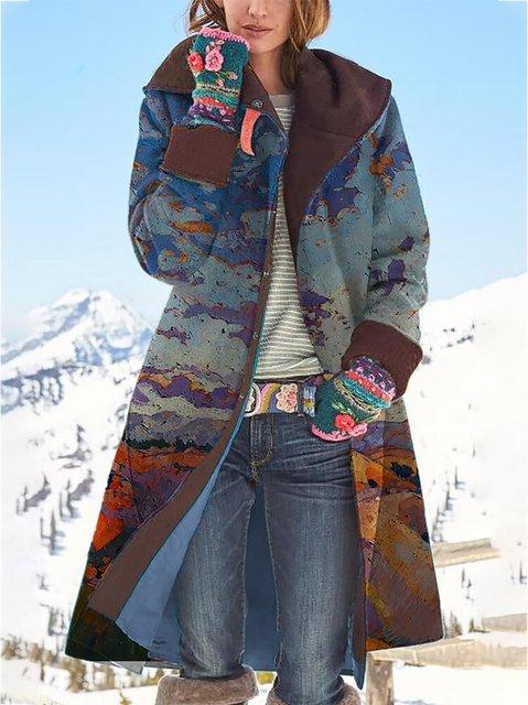 Landscape Printed Long Sleeve Casual Coat