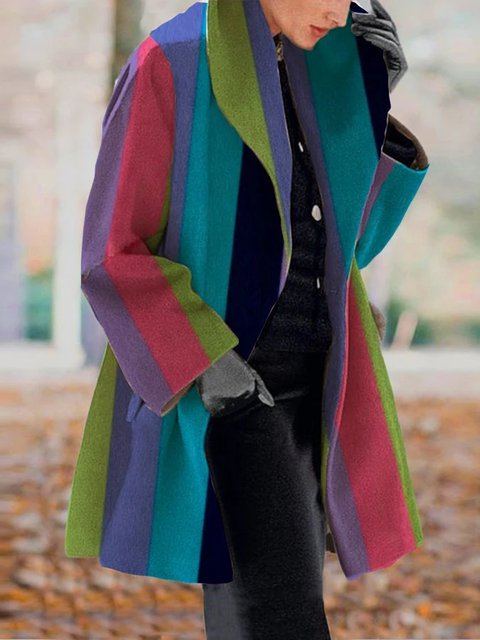 Printed Long Sleeve Striped Outerwear