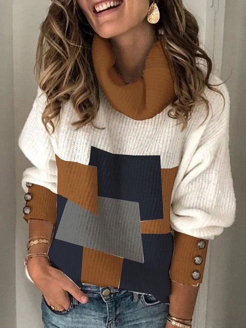 High neck long sleeve loose contrast color mid-length sweater top