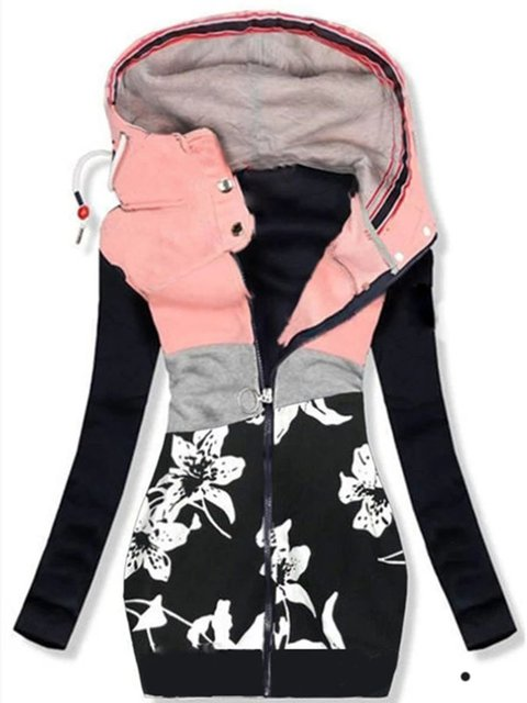 Floral Hoodie Long Sleeve Cotton-Blend Outerwear