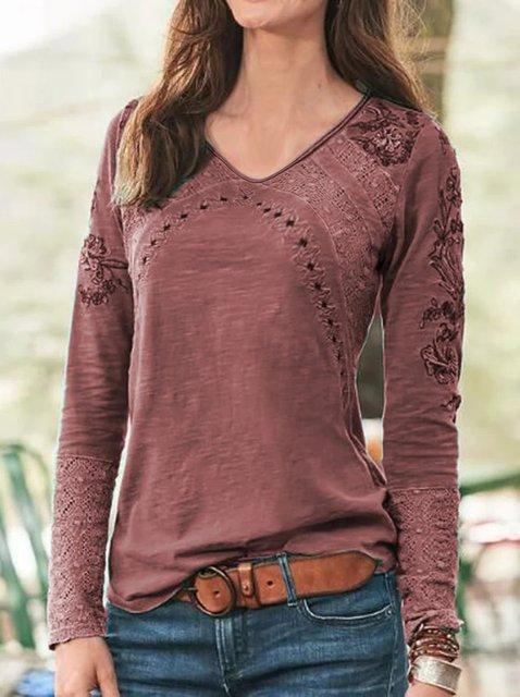 Women's Cotton-Blend Long Sleeve Bandage Shirts