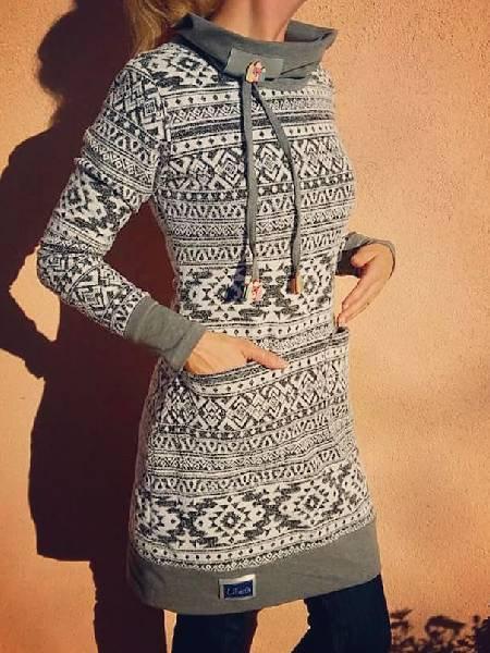 Casual Turtleneck Long Sleeve Cotton Sweatshirt